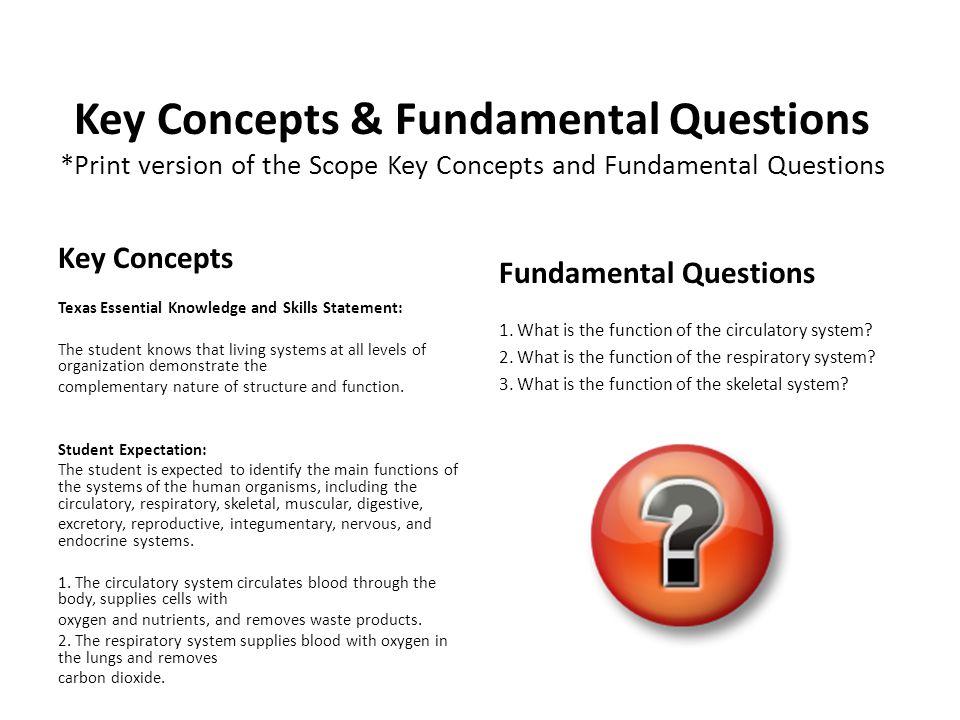 Key Concepts & Fundamental Questions *Print version of the Scope Key Concepts and Fundamental Questions Key Concepts Texas Essential Knowledge and Ski