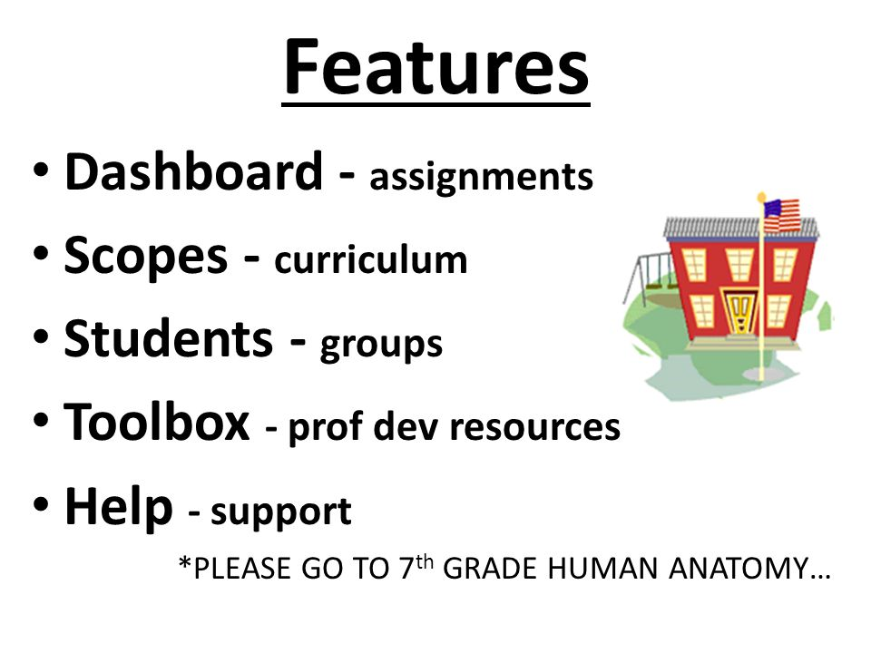 Features Dashboard - assignments Scopes - curriculum Students - groups Toolbox - prof dev resources Help - support *PLEASE GO TO 7 th GRADE HUMAN ANAT