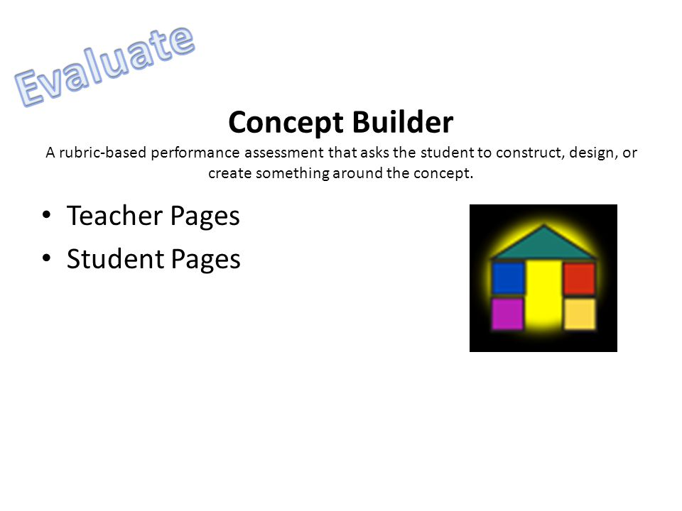 Concept Builder A rubric-based performance assessment that asks the student to construct, design, or create something around the concept. Teacher Page