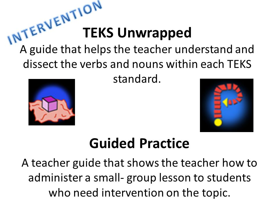 TEKS Unwrapped A guide that helps the teacher understand and dissect the verbs and nouns within each TEKS standard. Guided Practice A teacher guide th