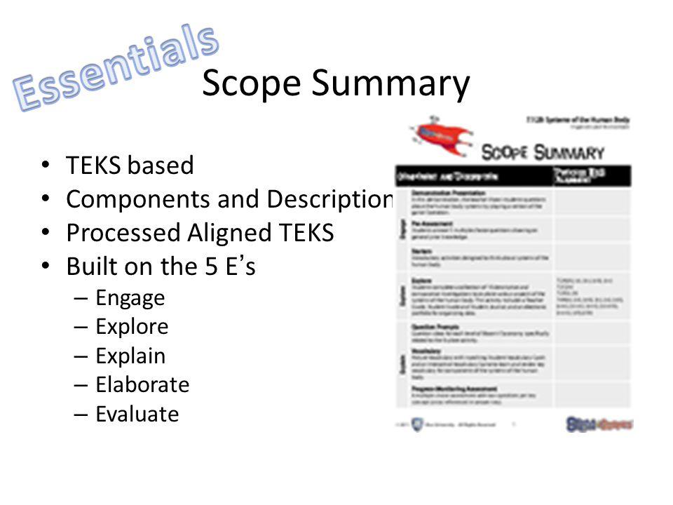 Scope Summary TEKS based Components and Description Processed Aligned TEKS Built on the 5 E's – Engage – Explore – Explain – Elaborate – Evaluate
