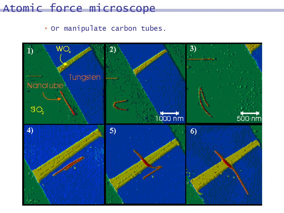  Or manipulate carbon tubes. Atomic force microscope