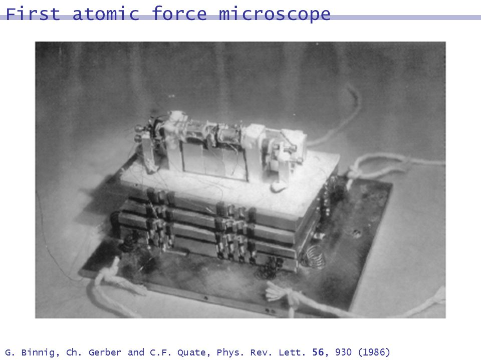 G. Binnig, Ch. Gerber and C.F. Quate, Phys. Rev. Lett. 56, 930 (1986) First atomic force microscope