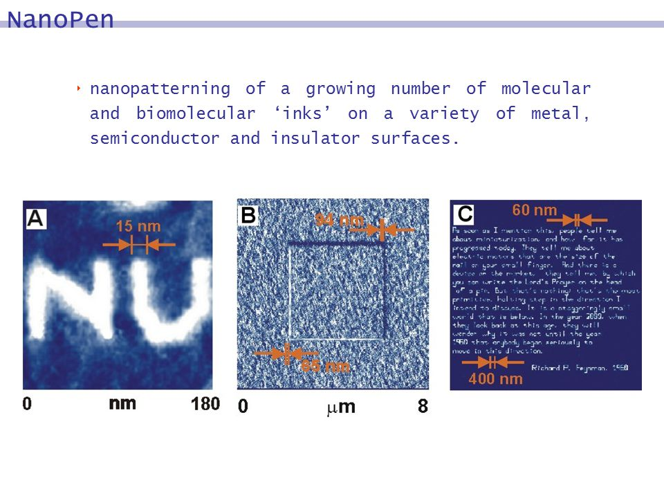  nanopatterning of a growing number of molecular and biomolecular 'inks' on a variety of metal, semiconductor and insulator surfaces.