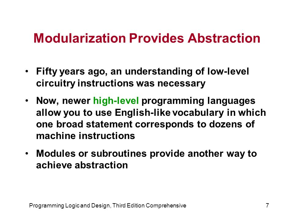 Programming Logic and Design, Third Edition Comprehensive7 Modularization Provides Abstraction Fifty years ago, an understanding of low-level circuitr