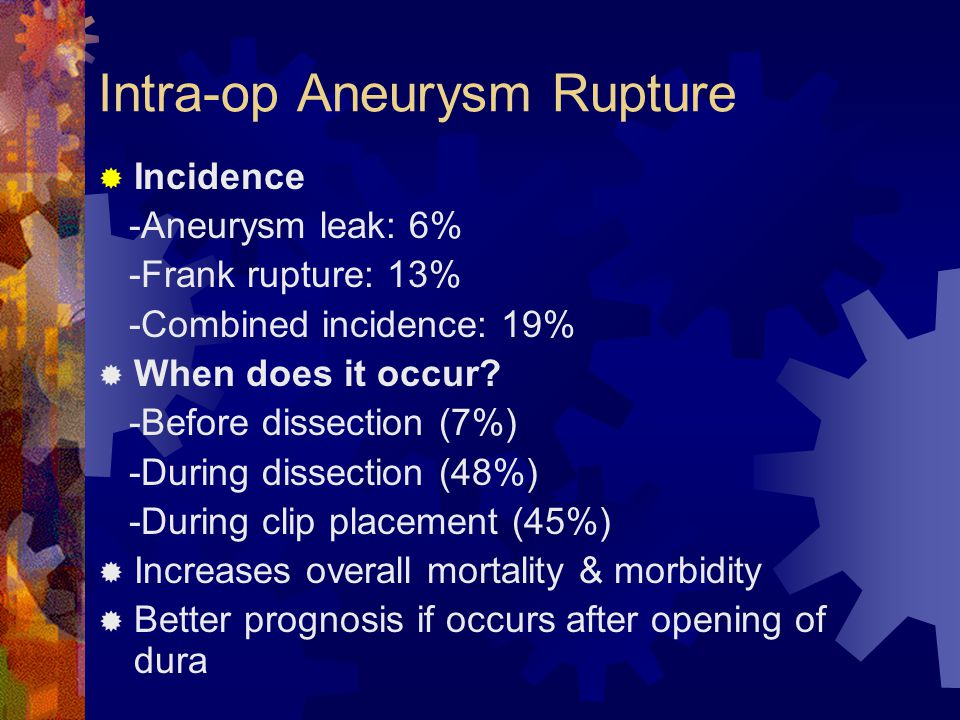Intra-op Aneurysm Rupture  Incidence -Aneurysm leak: 6% -Frank rupture: 13% -Combined incidence: 19%  When does it occur.
