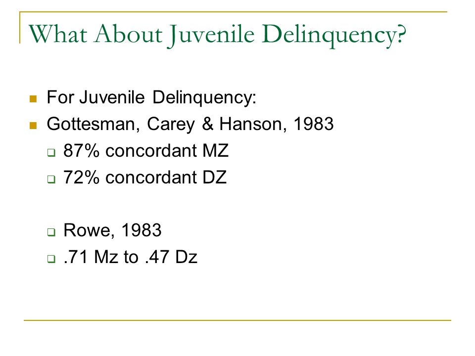 What About Juvenile Delinquency.