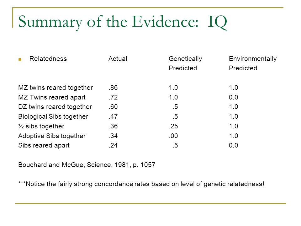 BG Continued: Draw on concept of heritability: H= a quantification (from 0 to 1) indicating the extent to which variance in a trait is due to genetic influences (Walsh, 2002).