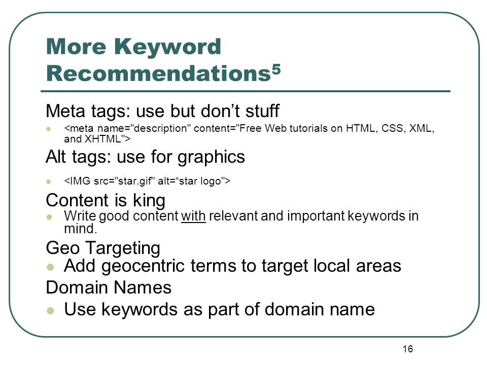 15 Keyword Recommendations 1 Page title: visible HTML text, Above the fold Page Size: 100 KB limit is still is still widely held.