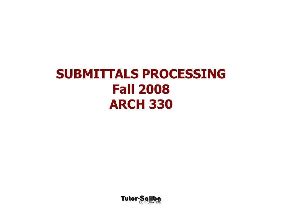 The submittal review process (Vendor) (Contractor) (Designer) (Vendor) Prepare Review Approve Manufacture/ Submittals  Vendor Submittal  Submittal  fabricate work  Lead Delivery Time  to jobsite  Installation The submittal log.