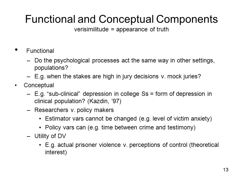 13 Functional and Conceptual Components verisimilitude = appearance of truth Functional –Do the psychological processes act the same way in other settings, populations.