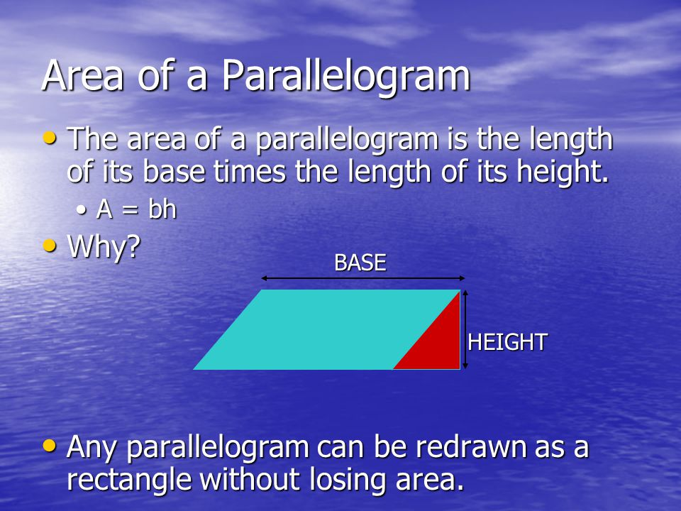The area of a parallelogram is the length of its base times the length of its height.