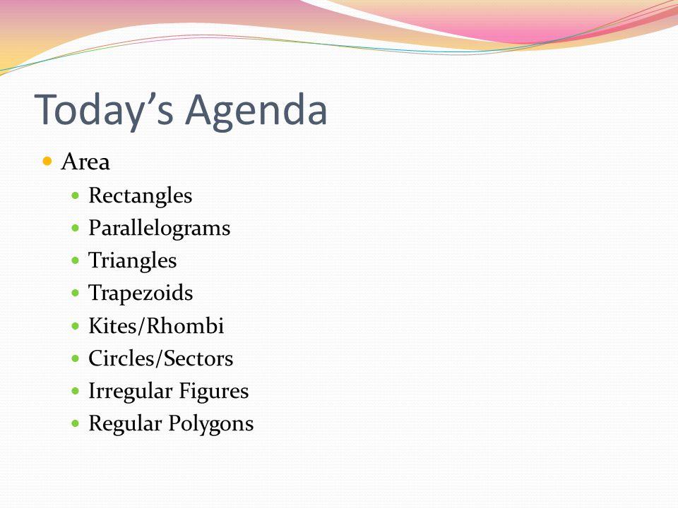 Today's Agenda Area Rectangles Parallelograms Triangles Trapezoids Kites/Rhombi Circles/Sectors Irregular Figures Regular Polygons