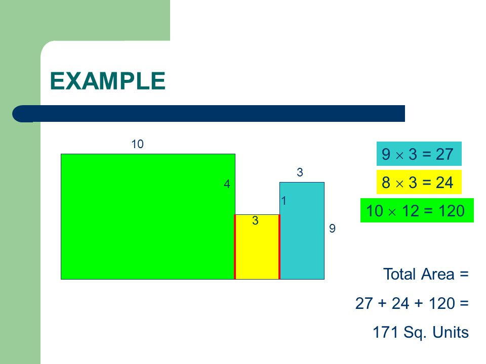 EXAMPLE 3 3 9 1 4 10 9  3 = 27 8  3 = 24 10  12 = 120 Total Area = 27 + 24 + 120 = 171 Sq. Units