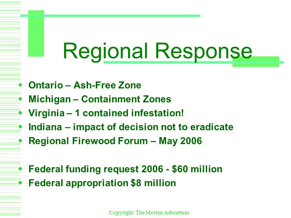 Copyright: The Morton Arboretum Regional Response  Ontario – Ash-Free Zone  Michigan – Containment Zones  Virginia – 1 contained infestation.