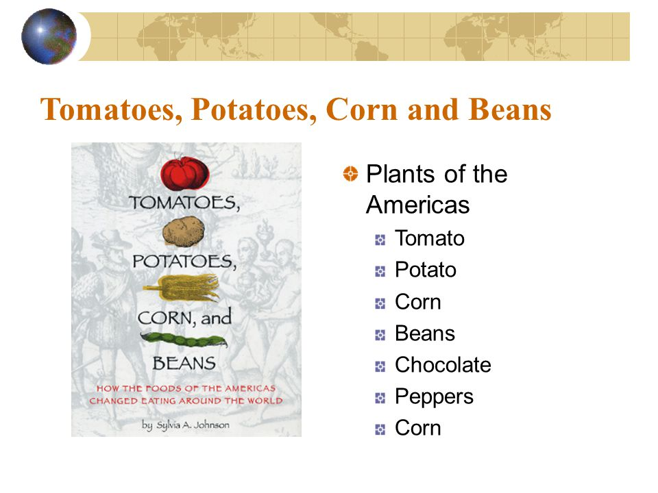 Tomatoes, Potatoes, Corn and Beans Plants of the Americas Tomato Potato Corn Beans Chocolate Peppers Corn