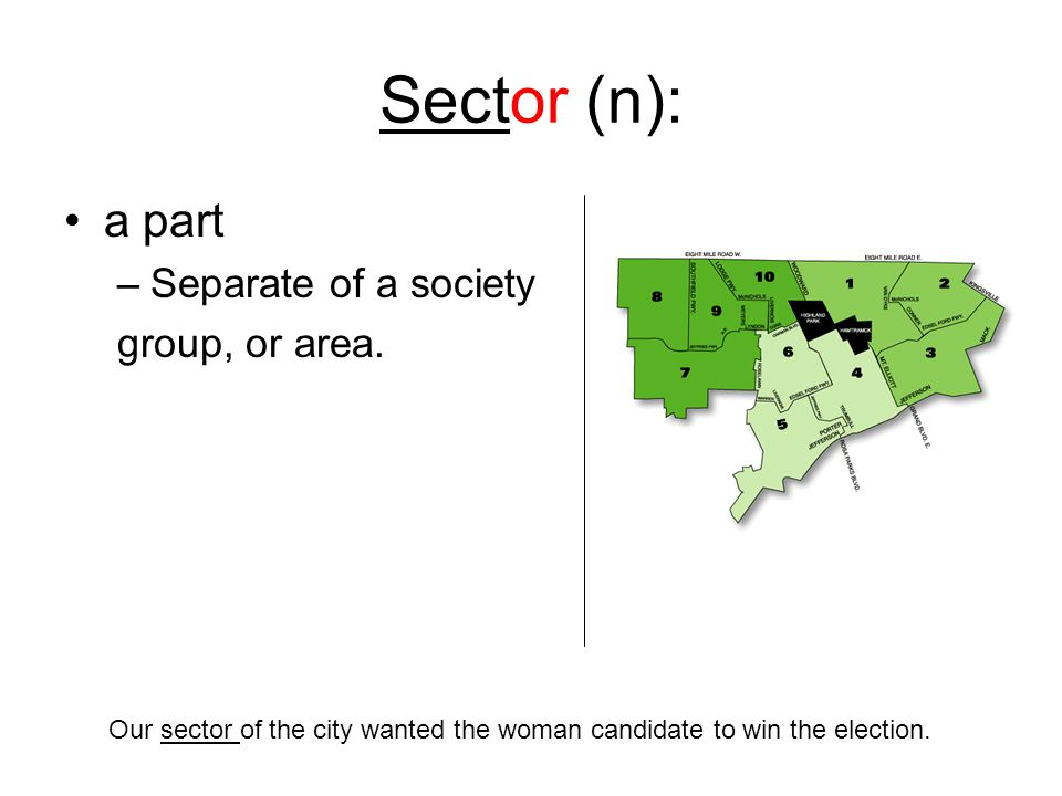 Sector (n): a part –Separate of a society group, or area.