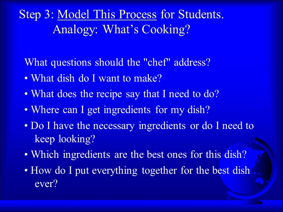 Step 3: Model This Process for Students. Analogy: What's Cooking? What questions should the