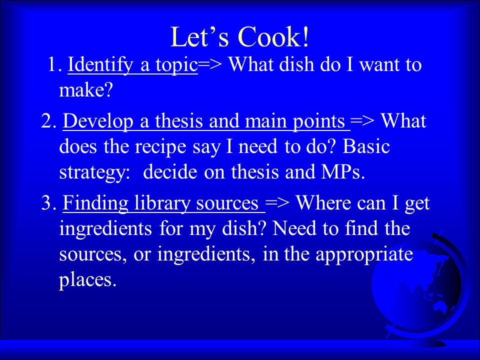 Let's Cook! 1. Identify a topic=> What dish do I want to make? 2. Develop a thesis and main points => What does the recipe say I need to do? Basic str