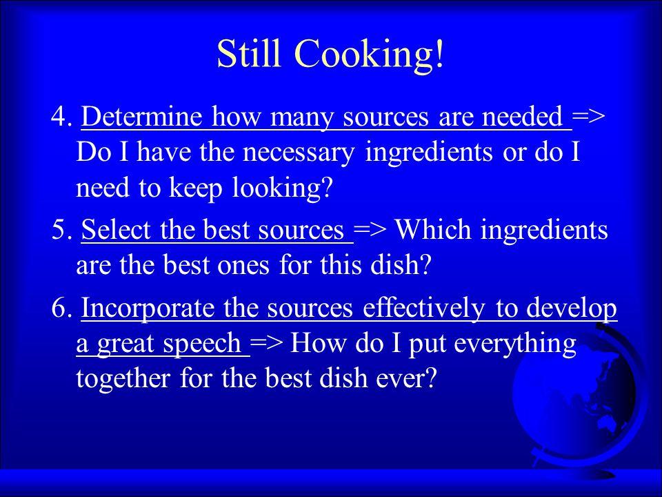 Still Cooking. 4.
