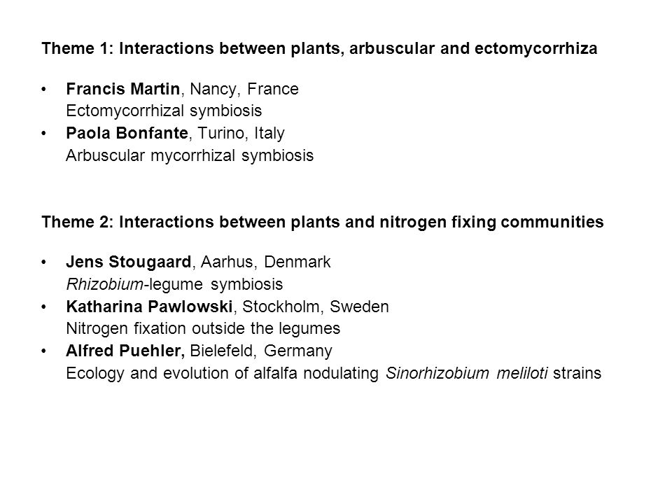 Theme 1: Interactions between plants, arbuscular and ectomycorrhiza Francis Martin, Nancy, France Ectomycorrhizal symbiosis Paola Bonfante, Turino, Italy Arbuscular mycorrhizal symbiosis Theme 2: Interactions between plants and nitrogen fixing communities Jens Stougaard, Aarhus, Denmark Rhizobium-legume symbiosis Katharina Pawlowski, Stockholm, Sweden Nitrogen fixation outside the legumes Alfred Puehler, Bielefeld, Germany Ecology and evolution of alfalfa nodulating Sinorhizobium meliloti strains