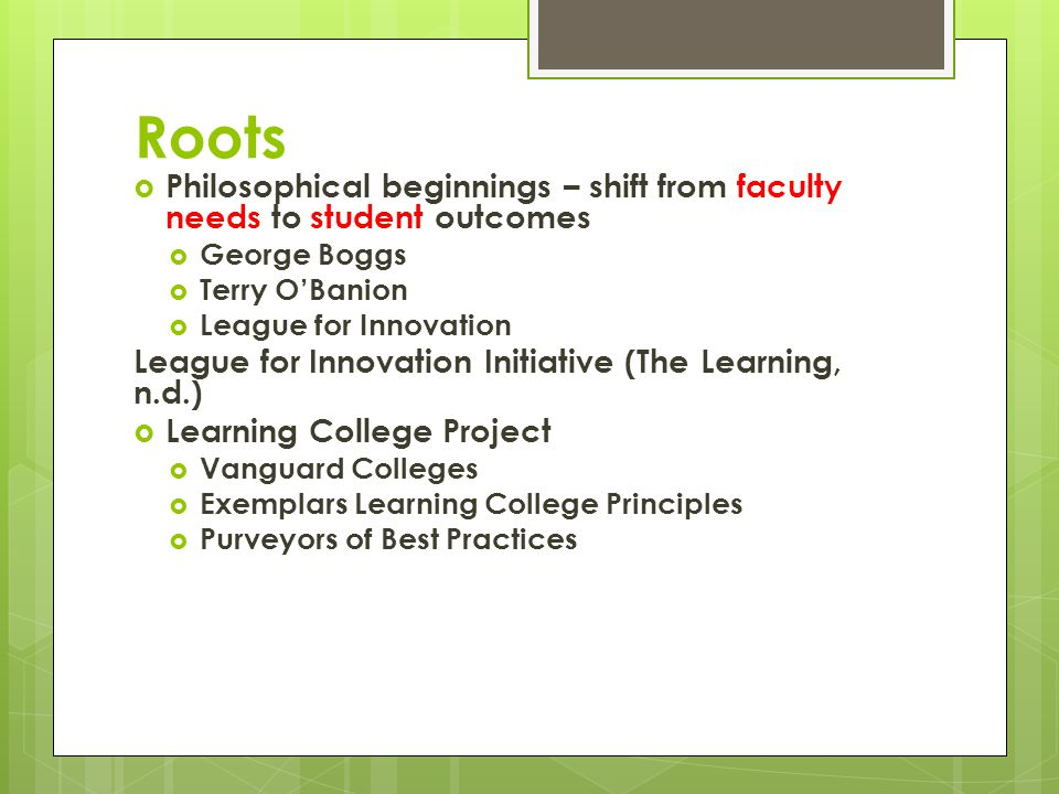 Learning College (Pete)  Roots  Basic Principles  Assessment Connection