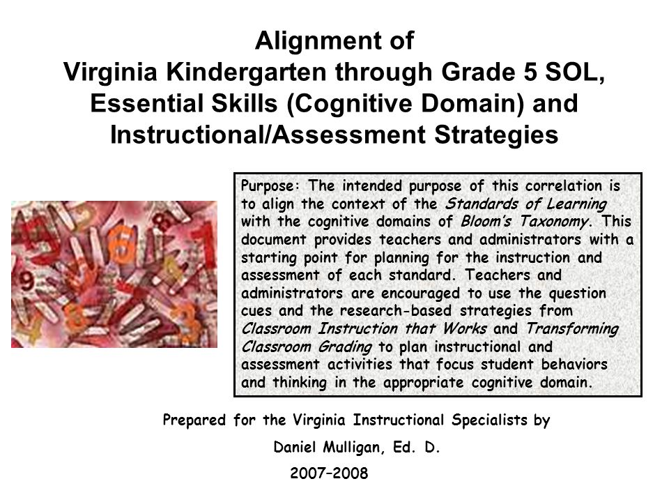 Alignment of Virginia Kindergarten through Grade 5 SOL, Essential Skills (Cognitive Domain) and Instructional/Assessment Strategies Purpose: The intended purpose of this correlation is to align the context of the Standards of Learning with the cognitive domains of Bloom's Taxonomy.