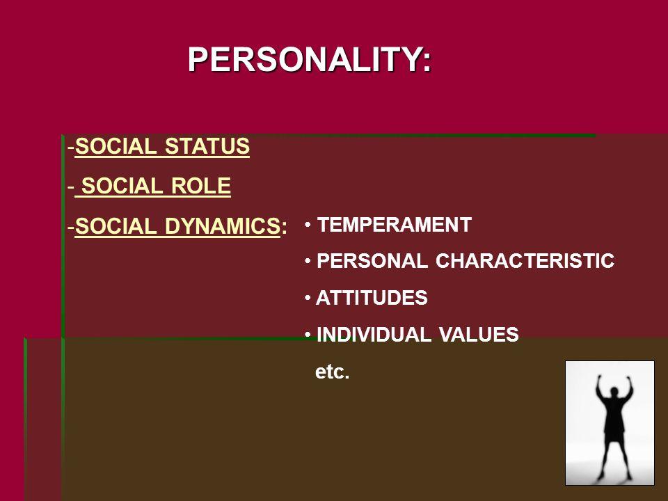 PERSONALITY: -SOCIAL STATUS - SOCIAL ROLE -SOCIAL DYNAMICS: TEMPERAMENT PERSONAL CHARACTERISTIC ATTITUDES INDIVIDUAL VALUES etc.
