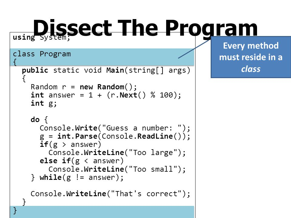 Dissect The Program using System; class Program { public static void Main(string[] args) { Random r = new Random(); int answer = 1 + (r.Next() % 100);