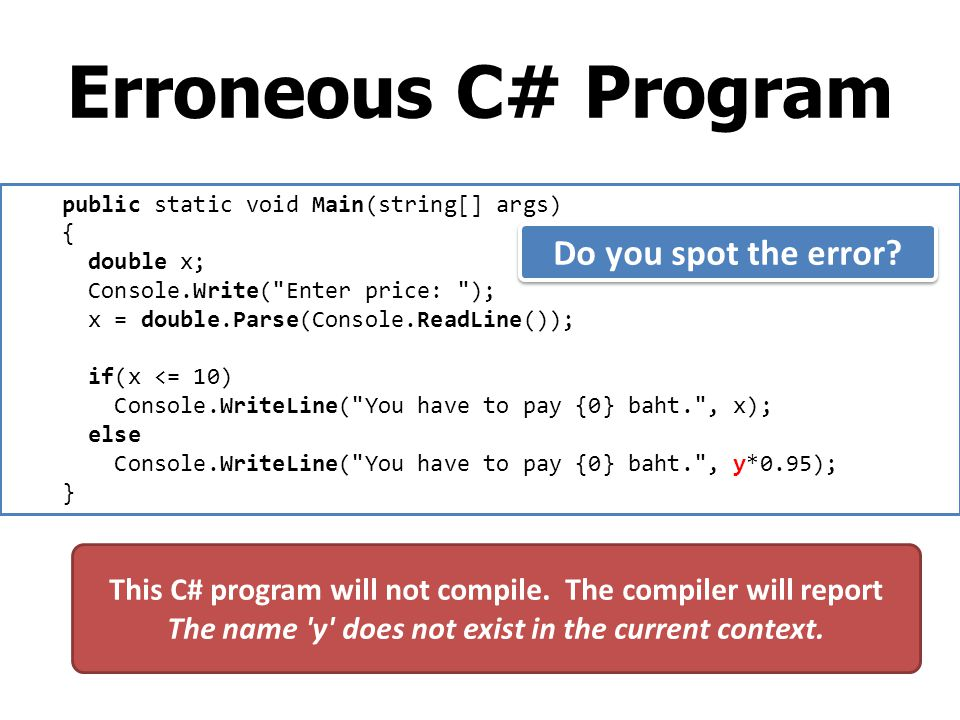 Erroneous C# Program public static void Main(string[] args) { double x; Console.Write(