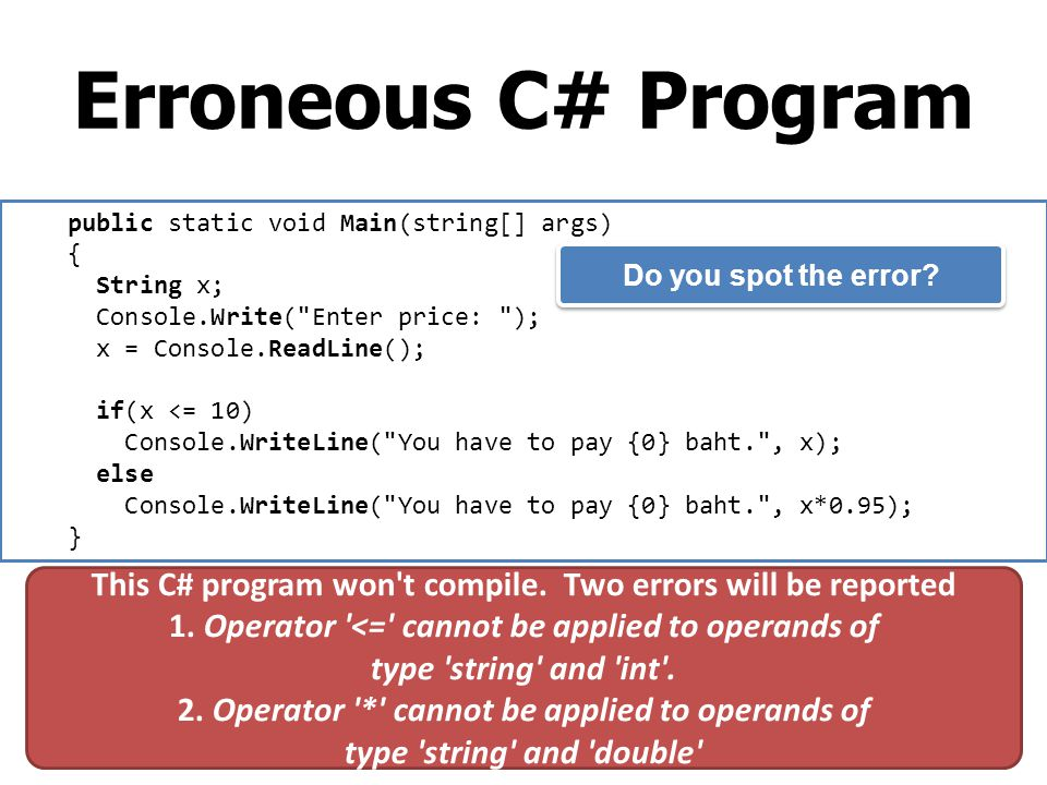 Erroneous C# Program public static void Main(string[] args) { String x; Console.Write(
