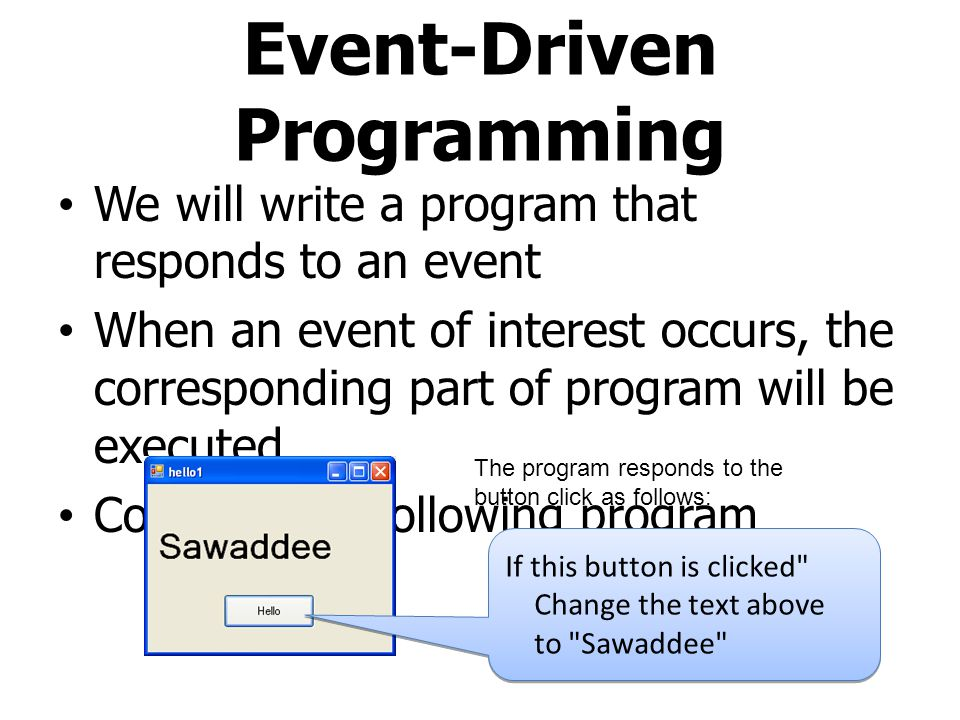 Event-Driven Programming We will write a program that responds to an event When an event of interest occurs, the corresponding part of program will be