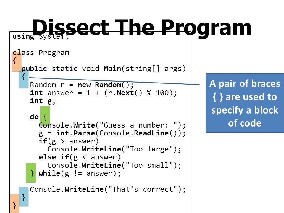 The Universe of C# Programs Namespace System Class Console WriteLine ReadLine Write Class Integer Parse ToString Class Random Next Class Float Namespace Sample (Our own namespace) Class Program Main Class X Class Y …