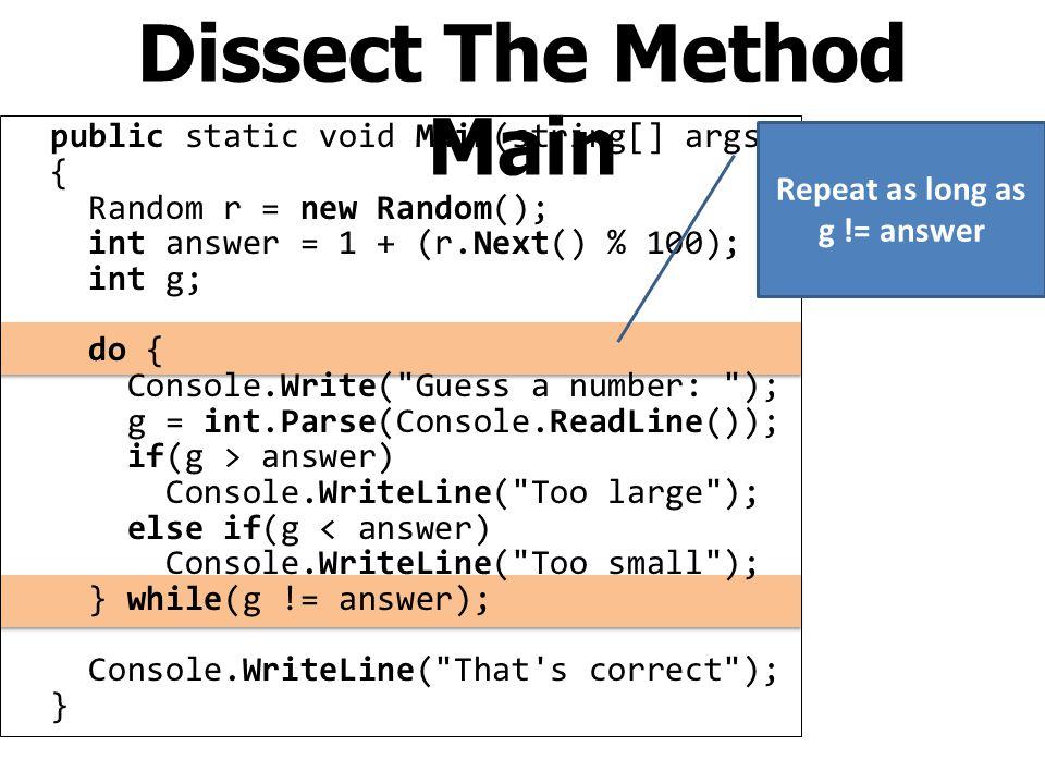 The Main Program: Method Main using System; namespace Sample { class Program { static void Main() { } The program always starts at the method Main We will write our main program here.
