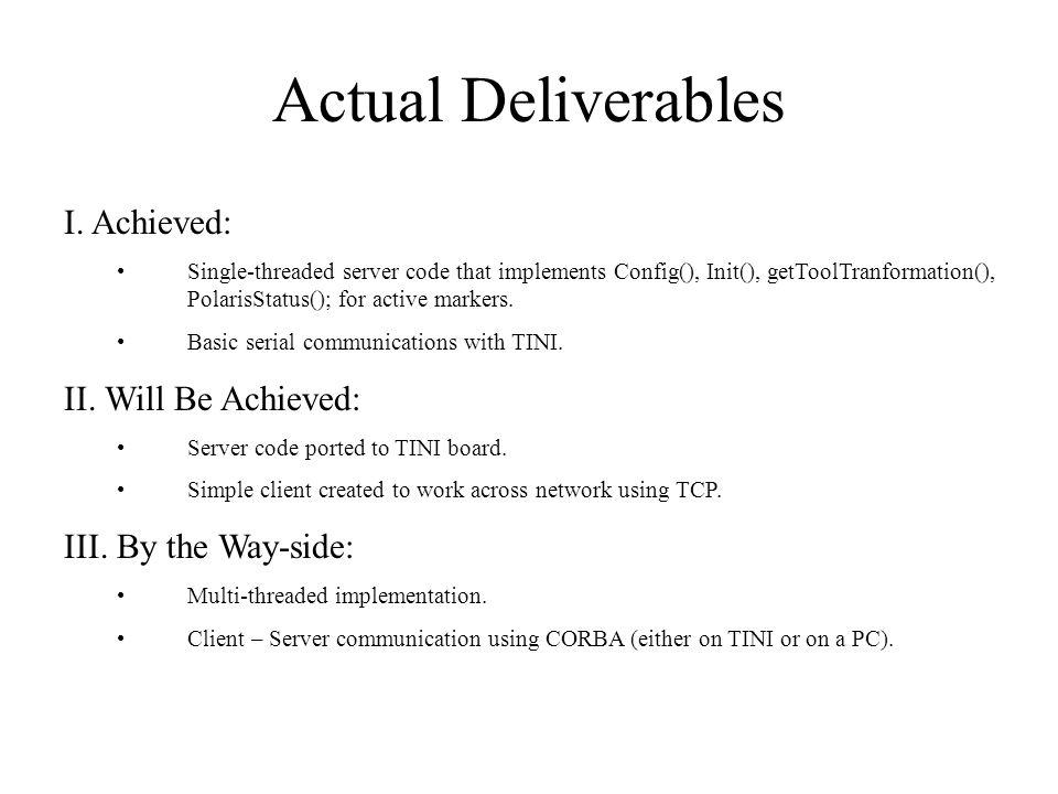 Actual Deliverables I.