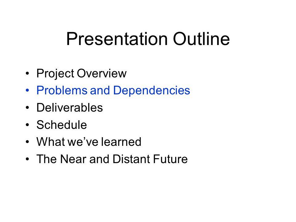 Dependencies 1.External A.Access to TINI – Fulfilled.