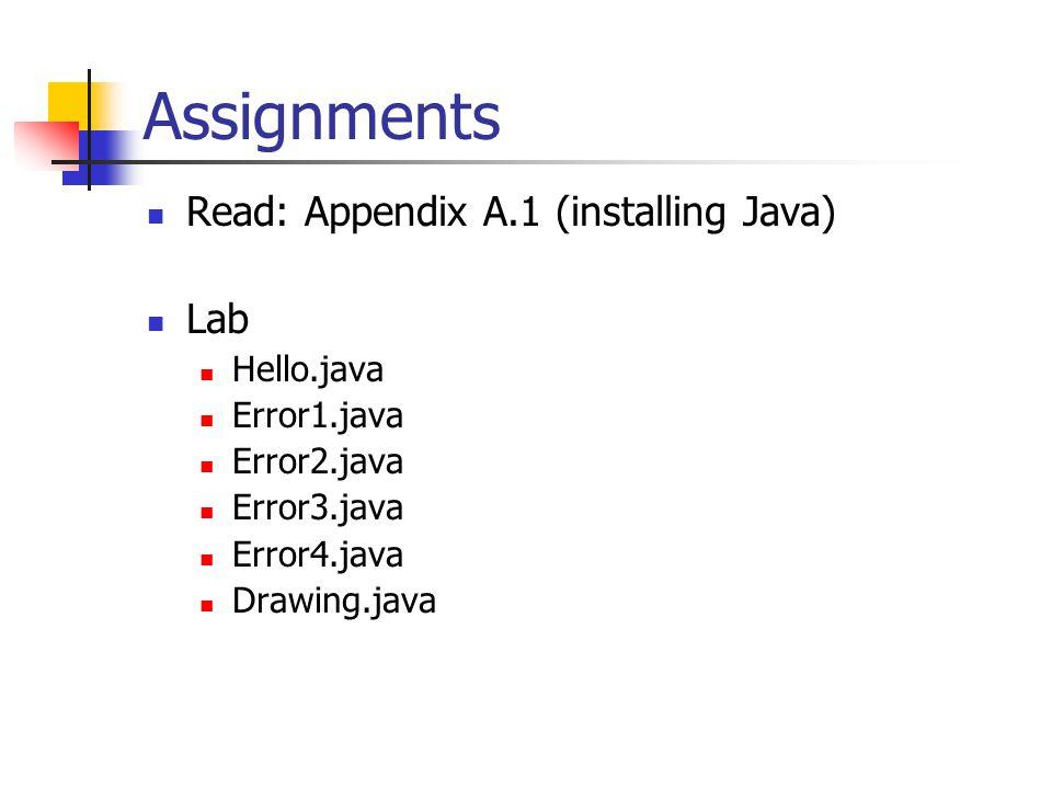 Read: Appendix A.1 (installing Java) Lab Hello.java Error1.java Error2.java Error3.java Error4.java Drawing.java
