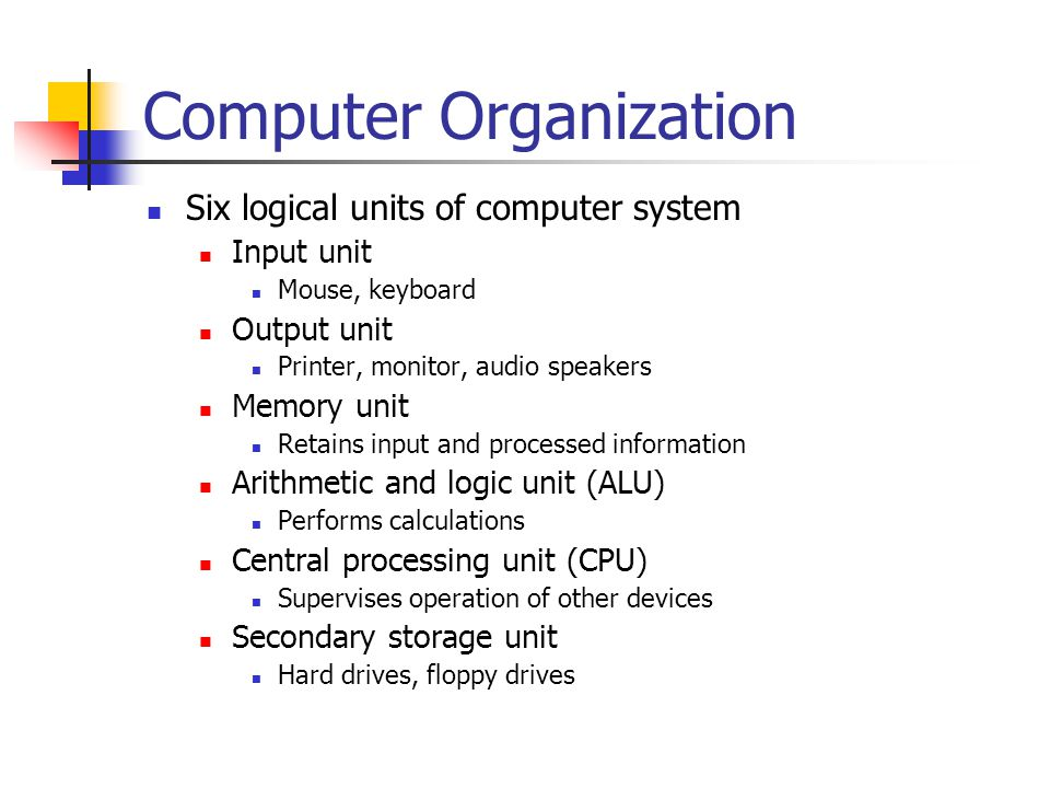 Computer Organization Six logical units of computer system Input unit Mouse, keyboard Output unit Printer, monitor, audio speakers Memory unit Retains input and processed information Arithmetic and logic unit (ALU) Performs calculations Central processing unit (CPU) Supervises operation of other devices Secondary storage unit Hard drives, floppy drives