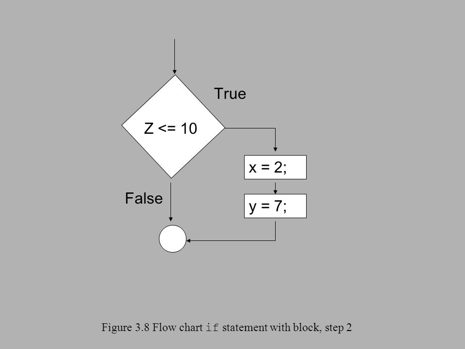 Figure 3.8 Flow chart if statement with block, step 2 Z <= 10 x = 2; True False y = 7;