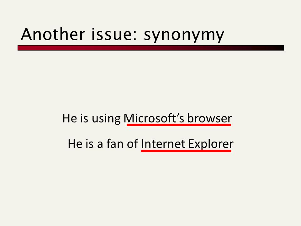 He is using Microsoft's browser He is a fan of Internet Explorer Another issue: synonymy