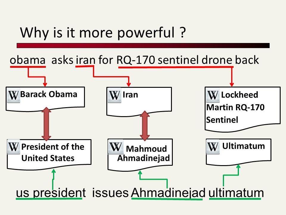 obama asks iran for RQ-170 sentinel drone back us president issues Ahmadinejad ultimatum Barack Obama Iran Lockheed Martin RQ-170 Sentinel President of the United States Mahmoud Ahmadinejad Ultimatum Why is it more powerful ?