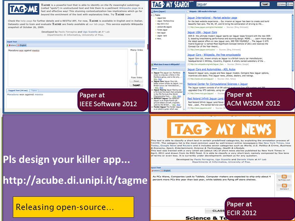 Paper at ACM WSDM 2012 Paper at ECIR 2012 Paper at IEEE Software 2012 Pls design your killer app...