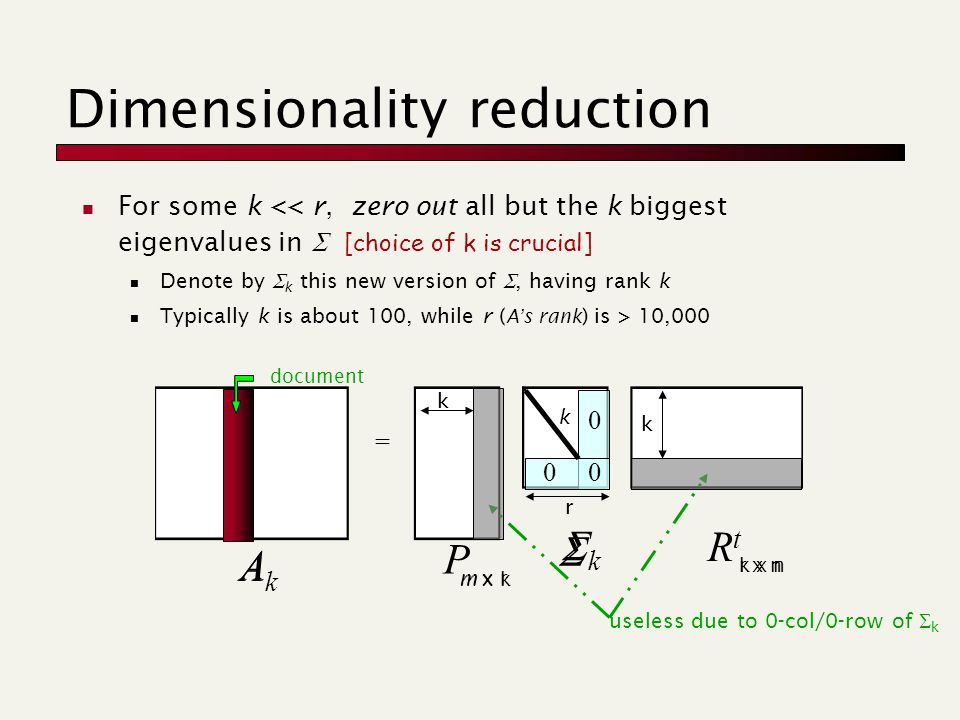  For some k << r, zero out all but the k biggest eigenvalues in  [choice of k is crucial] Denote by  k this new version of , having rank k Typically k is about 100, while r ( A's rank ) is > 10,000 = P kk RtRt Dimensionality reduction AkAk document useless due to 0-col/0-row of  k m x r r x n r k k k 00 0 A m x k k x n