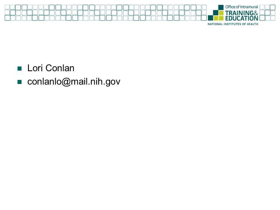 Lori Conlan conlanlo@mail.nih.gov