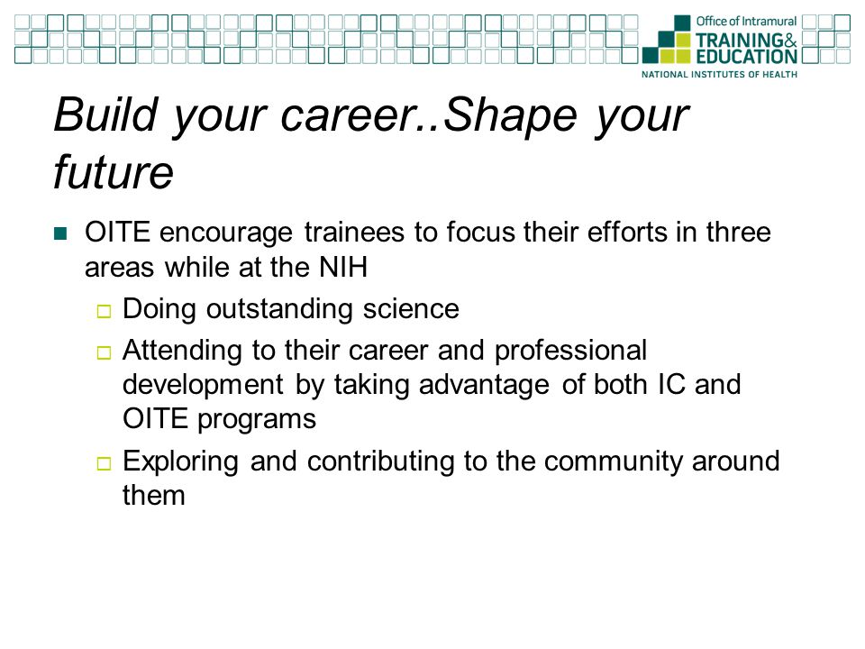 Build your career..Shape your future OITE encourage trainees to focus their efforts in three areas while at the NIH  Doing outstanding science  Attending to their career and professional development by taking advantage of both IC and OITE programs  Exploring and contributing to the community around them