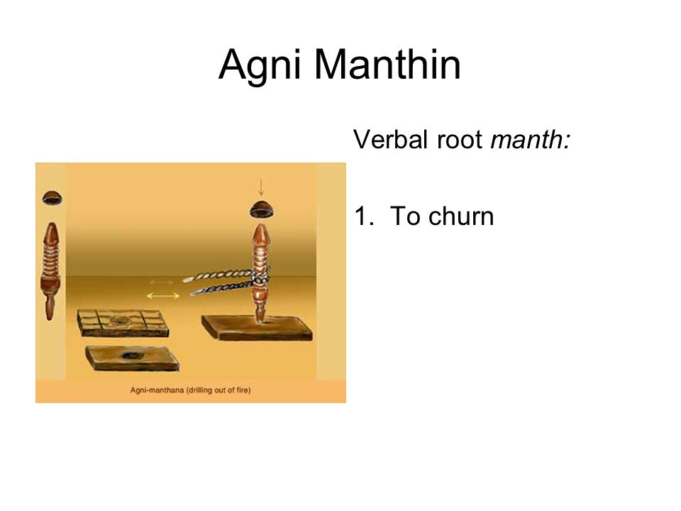 Verbal root manth: 1. To churn