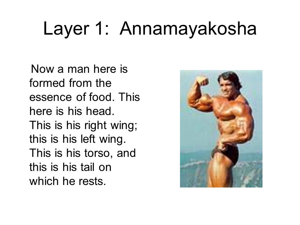 Layer 1: Annamayakosha Now a man here is formed from the essence of food.