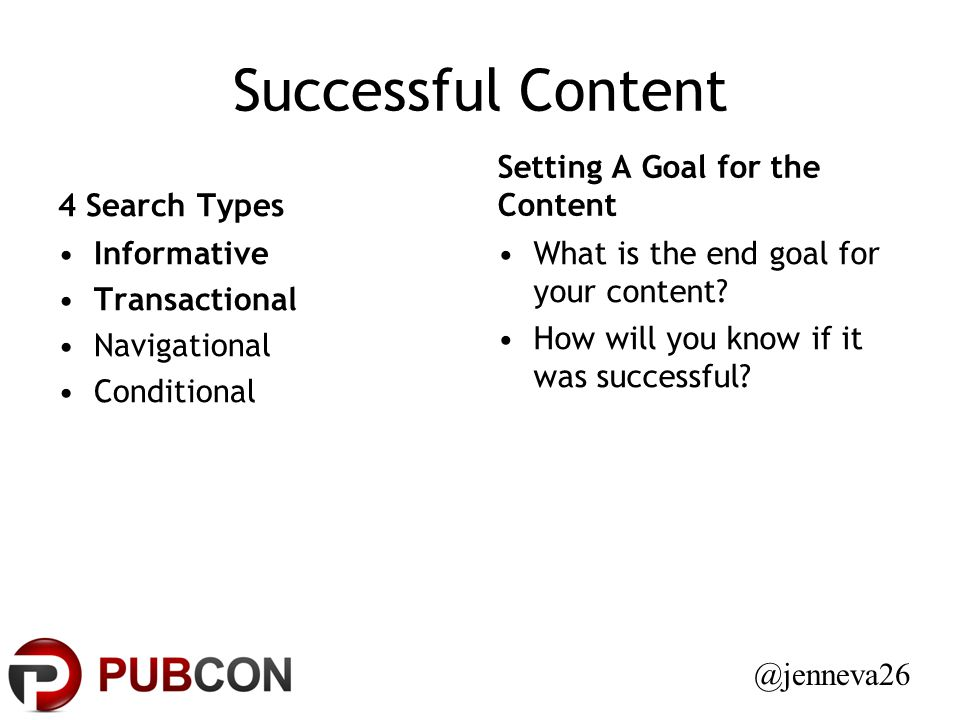Successful Content 4 Search Types Informative Transactional Navigational Conditional Setting A Goal for the Content What is the end goal for your content.