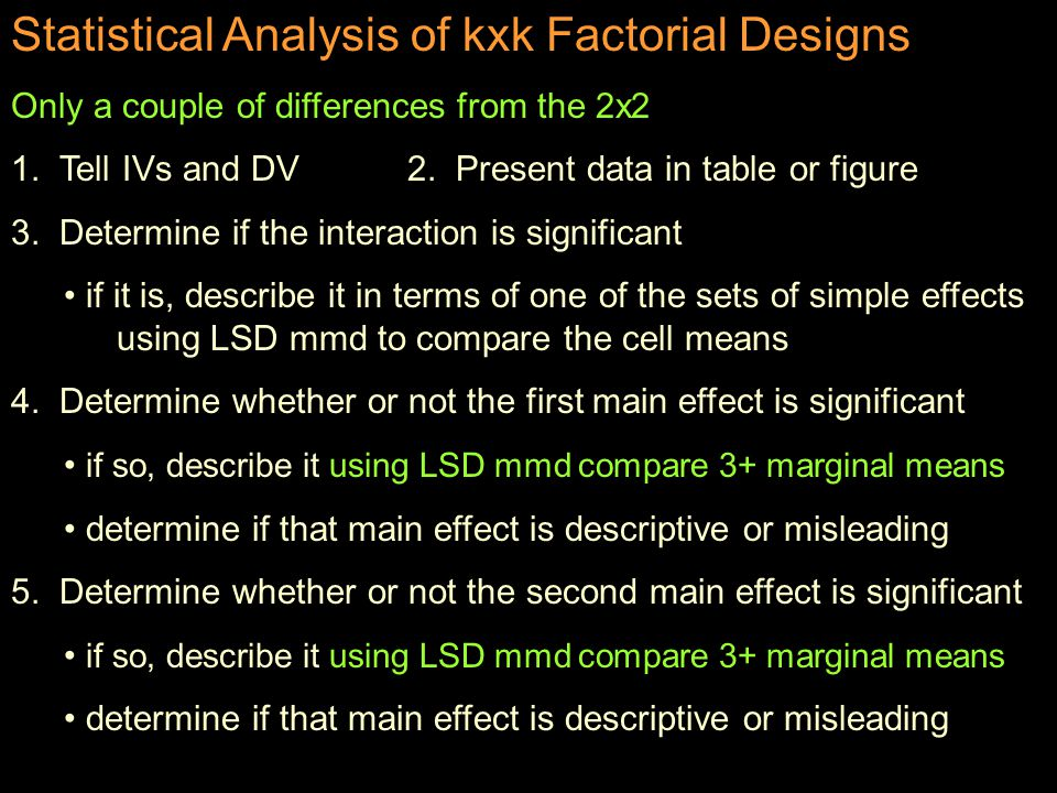 The omnibus ANOVA for the kxk is the same as for the 2x2 BG SS total = SS A + SS B + SS INT + SS Error df total = df A + df B + df INT + df Error (N - 1) = ( a -1) + (b-1) + (a-1)(b-1) + ab(n-1) SS A / df A SS B / df B SS INT / df INT F A = --------------- F B = -------------- F INT = ----------------- SS E / df E SS E / df E SS E / df E Things to notice: There is a single error term that is used for all the Fs All of the effects are equally powerful except for sample size differences (stat power)