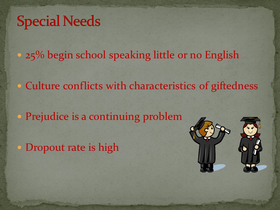 25% begin school speaking little or no English Culture conflicts with characteristics of giftedness Prejudice is a continuing problem Dropout rate is